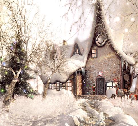 casa de la nieve del rbol de navidad nevado photography fondos de vinilo cloth ordenador impreso