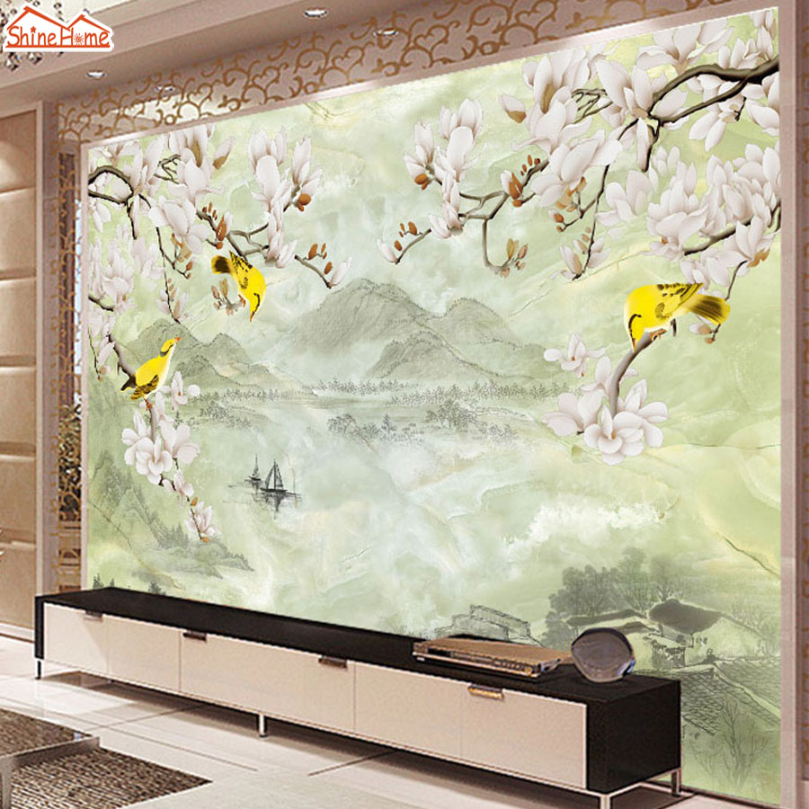 ShineHome-Hand-painted Oil Style Winter Plum Trees Flowers Birds Mountain Wallpaper Mural Rolls Hotel Living Room Background flame trees of thika