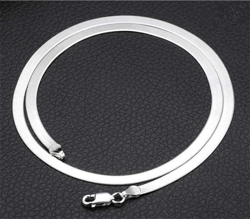 YANHUI 100% oryginalny 925 stałe srebro Chokers naszyjniki dla kobiet biżuterii łańcuchy ślubne naszyjniki prezent dla mężczyzny XL-6