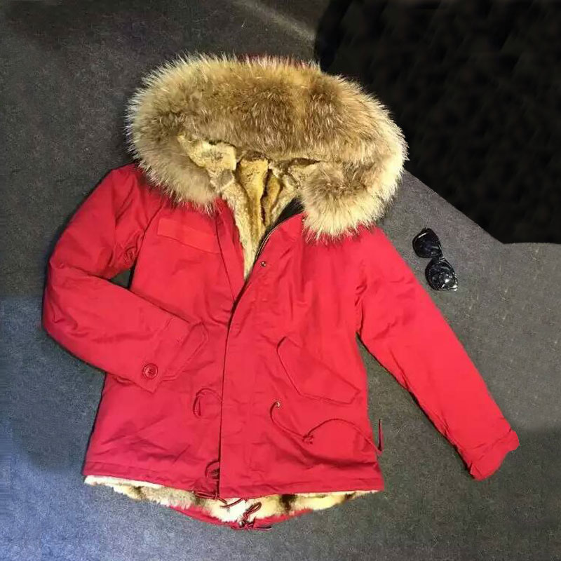 Vermilion jacket with big raccoon fur hooded winter coat for woman and man