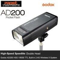 GODOX AD200 ttl 2,4 г HSS 1/8000 s Карманный вспышки света двойной головкой 200Ws с 2900 мАч литиевых Батарея фонарик вспышки