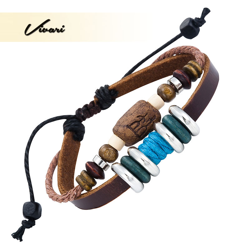Vivari 2017 Vintage Wood Zinc Alloy Leather Women Bangle Unisex Blue Green fashion Men jewelry Accessories Air Mail