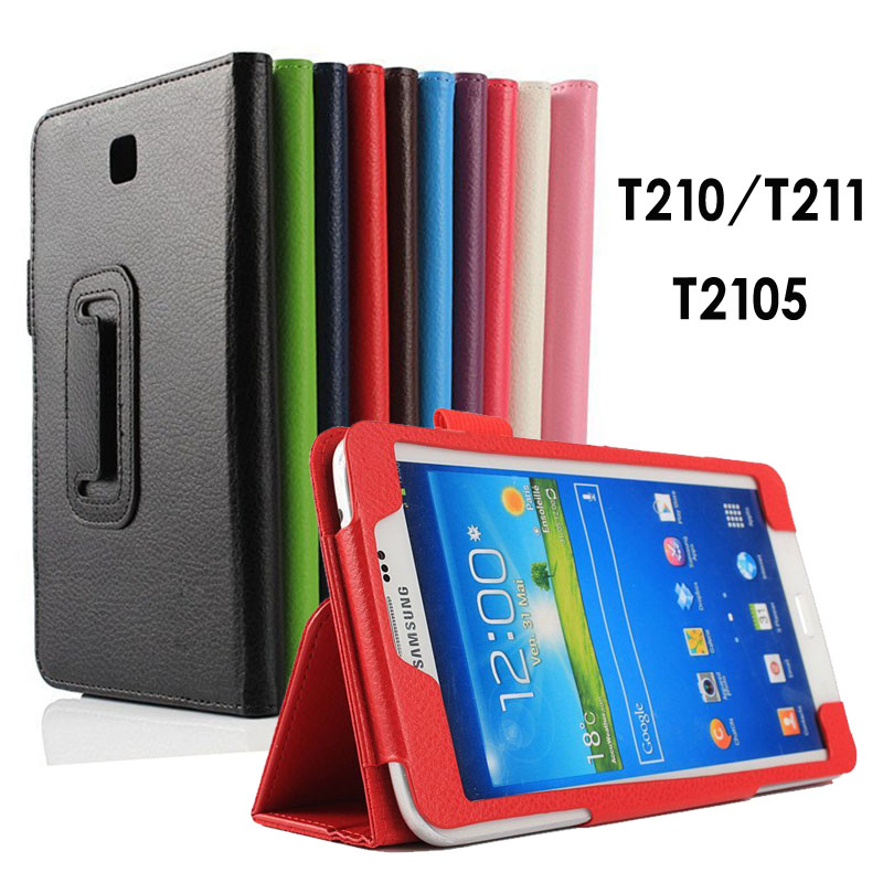 For Samsung Galaxy Tab 3 T210 T211 case stand Flip Protective Matte Litchi Solid Leather Tablet Cover for Galaxy P3200 7.0''