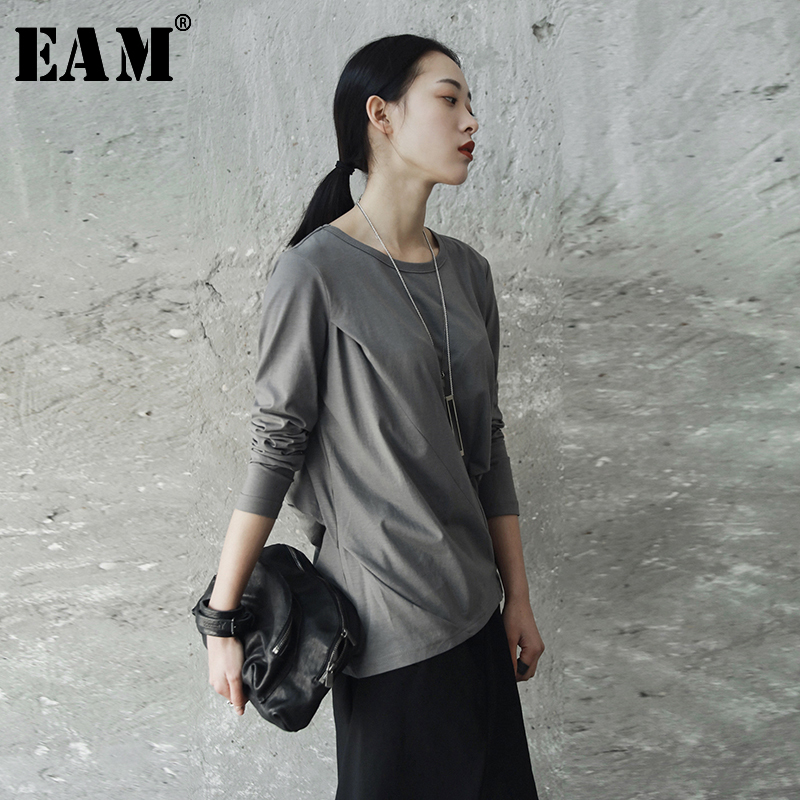 [EAM] 2020New Spring Autumn  Round Neck Long Sleeve Black Fod Split Joint Loose Elastic T-shirt Women Fashion Tide JE82701S