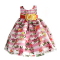 New Floral Girls Party Dress Big Yellow Bow Striped Kids Clothes for Girl Wedding Dresses with Mesh Red Ribbon 3-8 Years