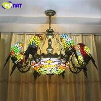FUMAT Aves Loros Araña Libélula Forma Europea de Vidrieras Artísticas Iluminaciones Salón Bar Lámparas Lámparas Caliente