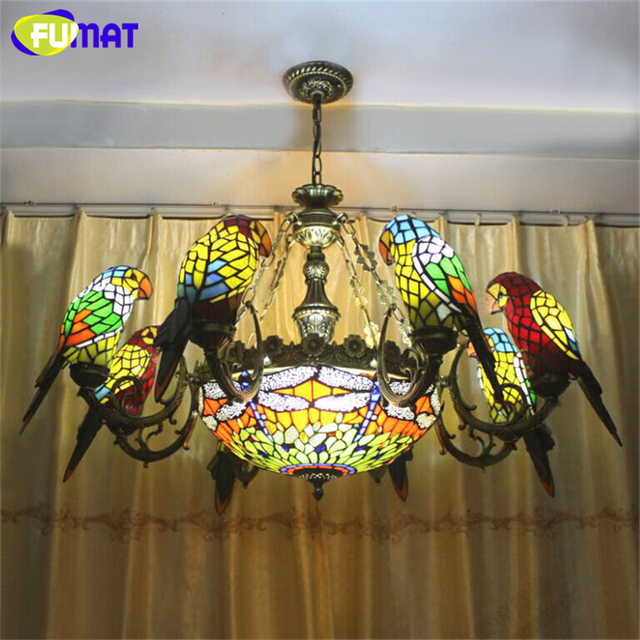 Fumat Birds Chandelier Parrots Dragonfly Shape European Artistic Stained Glass Lightings Bar Living Room Lamps Warm