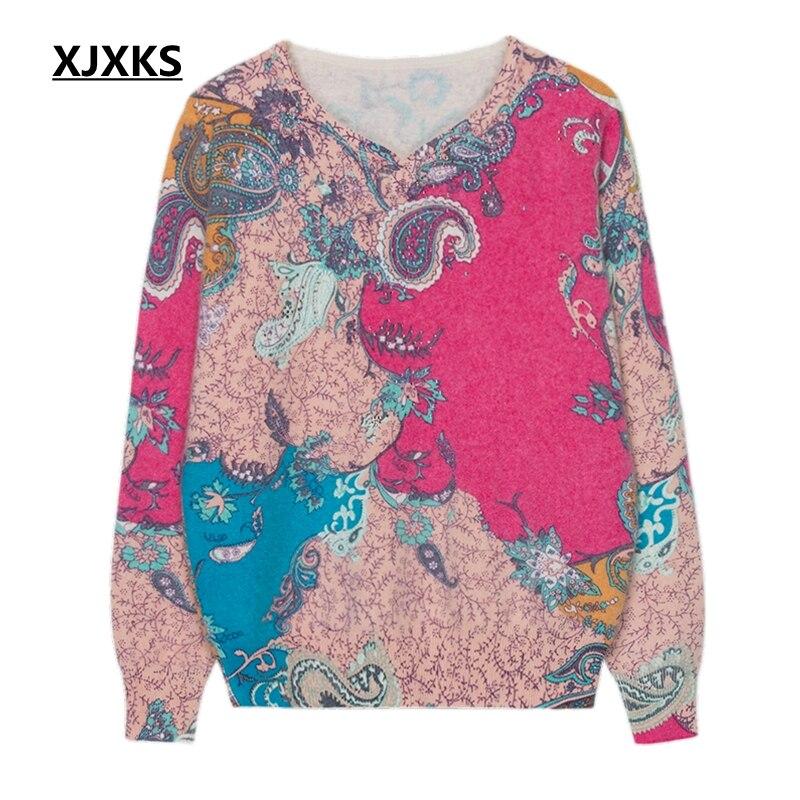 Bonne Grande Pull Chandail Haute Plus La fin Femme Cachemire Taille D'impression Super Xjxks En Qualité Femmes Print ZwgUKqySF