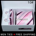 Hot Silk Men's Ties Formal Necktie Cravat Cufflinks Men Tie Clip Handkerchief Set Free shipping