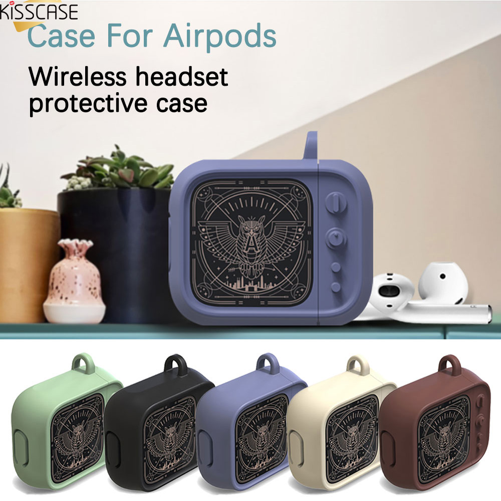 KISSCASE Retro Earphone Case for Airpods Silicone Protective Case for Wireless Headset Portable Mini Earphone Storage Bag