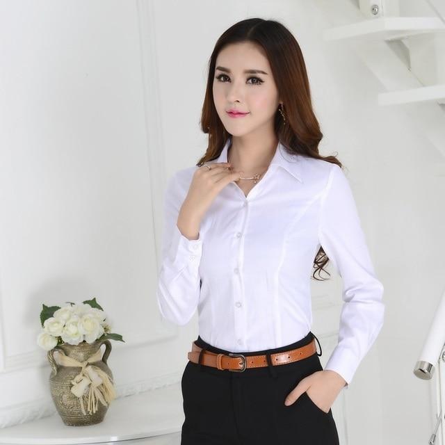 a2c68d9d1f US $18.87  Formal Female White Shirts Women Work Blouses 2015 Autumn Ladies  Office Uniform Shirts Female Tops Free Shipping-in Blouses & Shirts from ...
