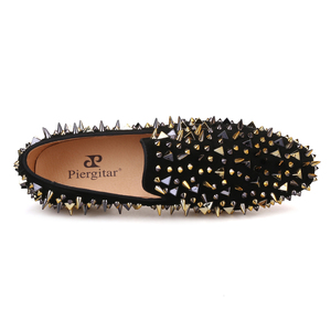 Image 4 - Piergitar new arrive men suede shoes with gold and black spikes Fashion party and banquet men loafers plus size smoking slipper