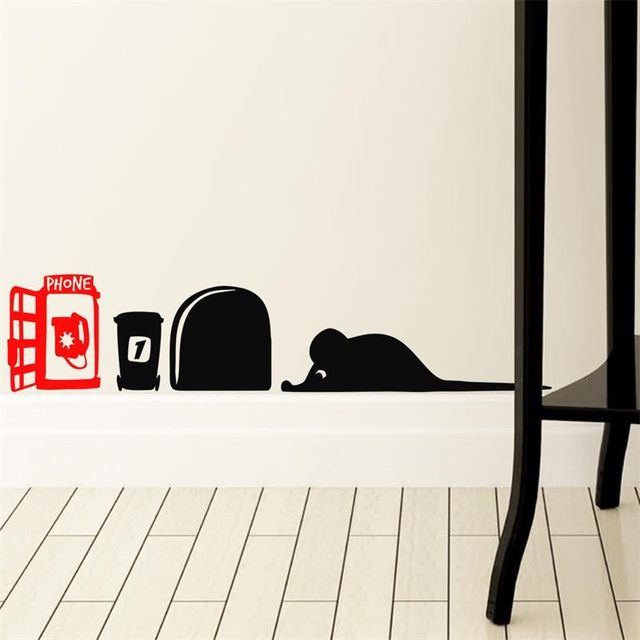 Funny Cute Cartoon Black Mouse Hole Red Phone Booth Wall Sticker Home Decor Children S Room Vinyl Removable