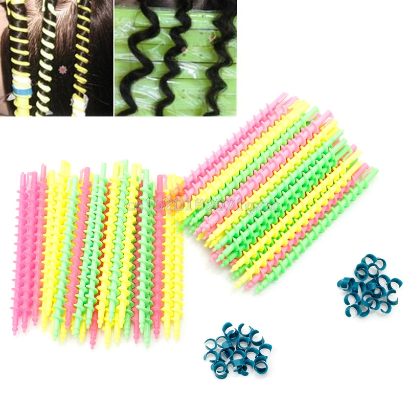 26Pcs Plastic Long Styling Barber Salon Tool Hairdressing Spiral Hair Perm Rod Small #H0 ...