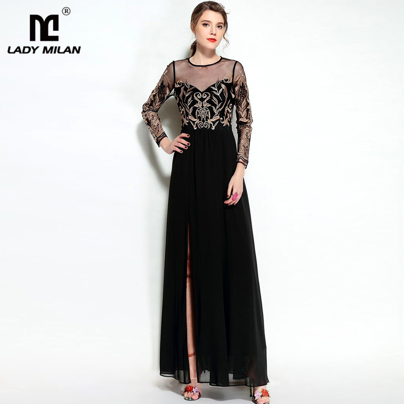 New Arrival 2018 Womens O Neck Long Sleeves Embroidery Sexy Tulle Laid Over Party Prom Split Maxi Long Black Desinger Dresses