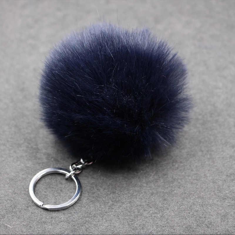 8 cm Pompom Fofo Bola de Pêlo de Coelho Mulheres Faux Rabbit Fur Pom Pom Keychain do Anel Chave de Cadeia Saco Encantos Bugiganga presente da Jóia do casamento