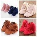 Moccs Bebê Recém-nascido Da Menina do Menino Crianças Prewalker Sólidos Fringe mocassim Calçados Infantis Sapatos Da Criança Macio Sola Anti-slip Botas Sapatinho 0-1Yea