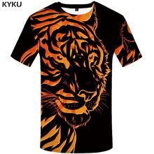 KYKU Brand Tiger T shirt Black T-shirt Yellow Clothes Animal shirts Clothing Tshirt Men Rock Hip hop High Quality New