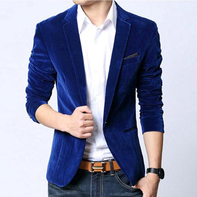 dd573dfd45d Men Blazer slim fit suit jacket Brand New Spring autumn outwear coat  costume homme black navy