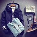 2016 новая весна мужская мода сплошной куртка с капюшоном подростков стиль колледжа свободного покроя верхняя одежда ежедневно пальто размеры M-4XL