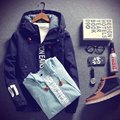 2016 The new spring men's fashion Solid Hooded jacket Teen college style casual Outerwear daily Coats Size M-4XL