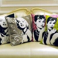 Lớn Cổ Điển Marilyn Monroe Hepburn Cotton In Linen Tinh Khiết Vải Da Lộn Cushion Cover Đối Với Sofa Ném Trang Trí Vỏ Gối