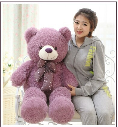 big lovely purple teddy bear doll candy colours teddy bear with spots bow plush toy doll birthday gift about 120cm huge lovely plush purple teddy bear toy cute big eyes bow big stuffed teddy bear doll gift about 160cm