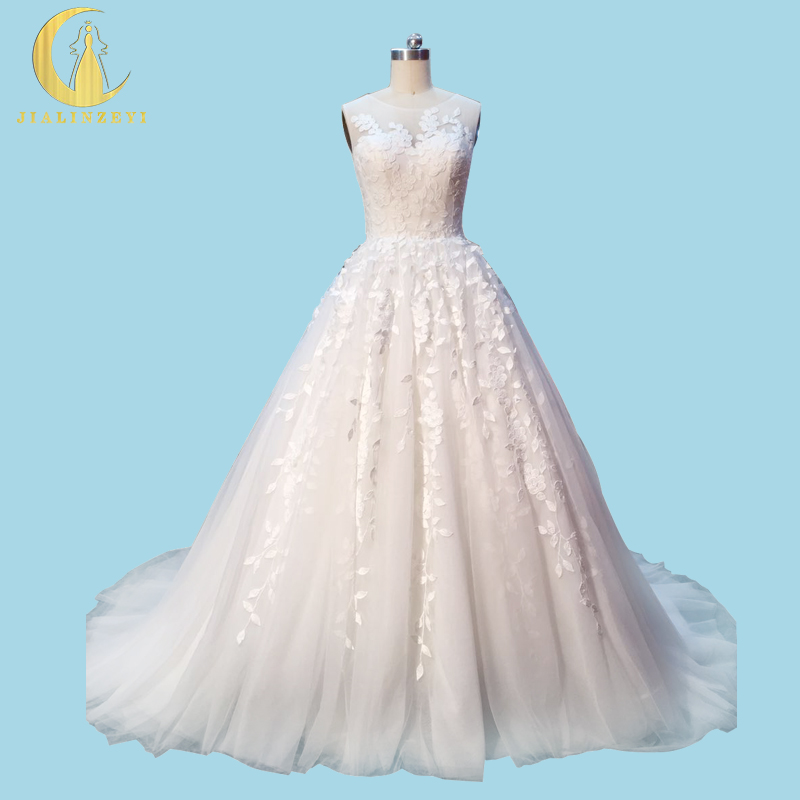 Rhine Real Sample Image Pictures High Lace Sleevesless New Design Ball Gown Bridal Wedding Gown wedding dresses