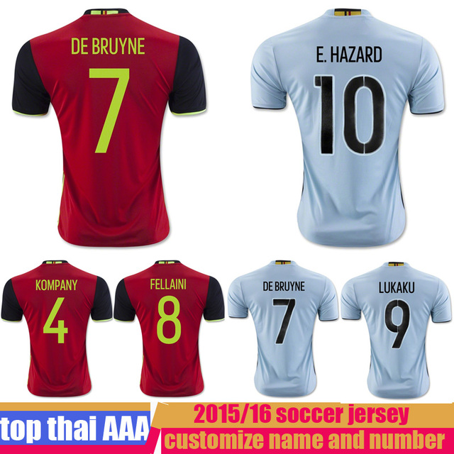 2015 2016 European Belgium home red blue best thai quality soccer jerseys  DE BRUYNE E HAZARD football uniform shirt a85152608