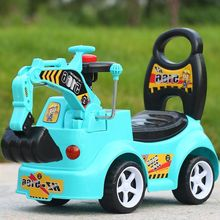 Children Construction Excavator with Music Baby Walker Car Plastic Kids Ride on Toys Boys Four-wheel Hydraulic Excavator 6 Years