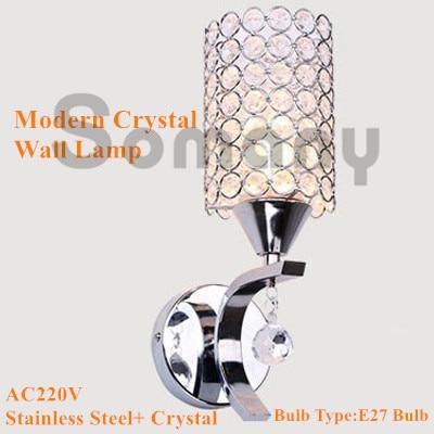 ФОТО Modern Wall Lamp Stainless Steel K9 Crystal AC220V Cylindrical Warm White/Cool White for Hotel/Corridor Lighting Led Wall Light
