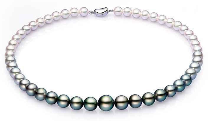 Фото Classic9 мм 10 Южное море натуральный черный белый многоцветный жемчужное ожерелье 18