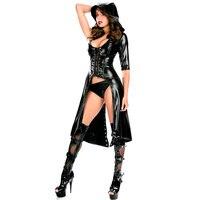 Bodysuit Black Gothic Punk Wetlook Hooded Coat Latex PVC Lingerie Set One Shoulder Design With Thong Sexy Women Clubwear