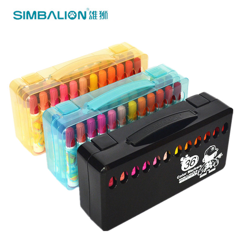 SIMBALION 36 Color Marker Premium Painting Watercolor Markers Pen Effect Best For Coloring Books Manga Comic Calligraphy 20 color premium painting soft brush pen set watercolor art copic markers pen effect best coloring books manga comic calligraphy