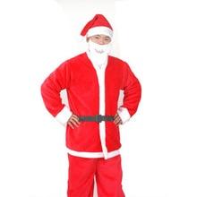 5PCS/Set Christmas Santa Claus Dress Suit Set Adults Men Women Costume Hat Belt Clothes Free Shipping