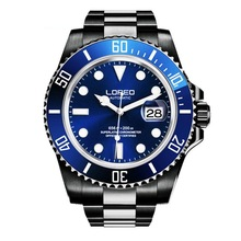 LOREO Mens Sport Luminous Rotatable Bezel 200M Waterproof Automatic Self Wind Mechanical Wrist Watches – Single Calendar Steel