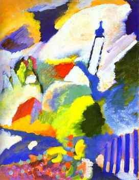 Free DHL or FeDex Shipping,100% handmade Oil Painting reproduction on linen canvas,Murnau with church ,Museum Quality