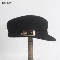 USPOP 2018 Fashion New women wool hat metal buckle wool newsboy caps winter flat top visor caps octagonal hat berets