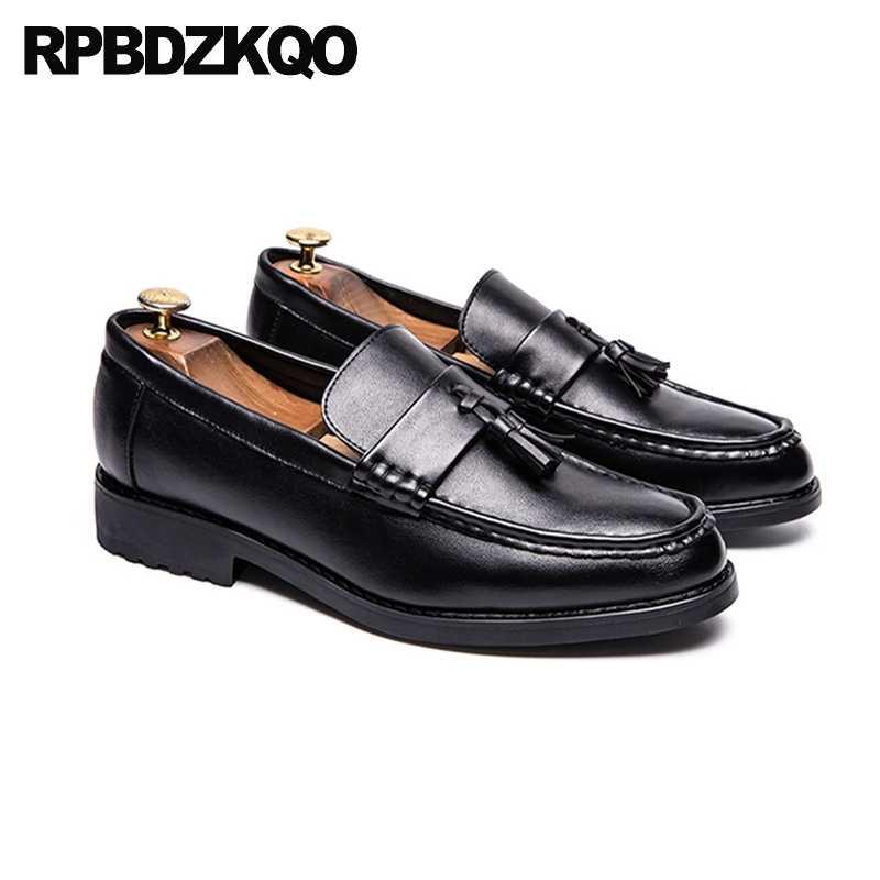 Вечерние модельные туфли; дизайнерские Лоферы для выпускного вечера; Черные слипоны; 2019 г.; Повседневная обувь коричневого цвета; Мужская обувь в британском стиле с кисточками; высокое качество; Европейский стиль; Новинка