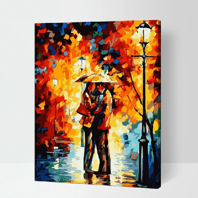 MaHuaf-X147 Paintings by numbers Autumn date romantic couple lover DIY wall pictures with acrylic paints for living room framed