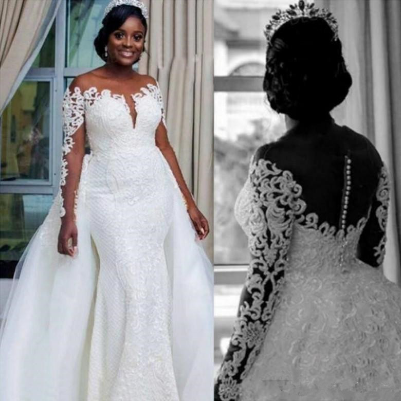 Plus Size Mermaid Wedding Dresses With Detachable Train 2019 Modest African Full Lace Applique Long Sleeve Church Wedding Gown