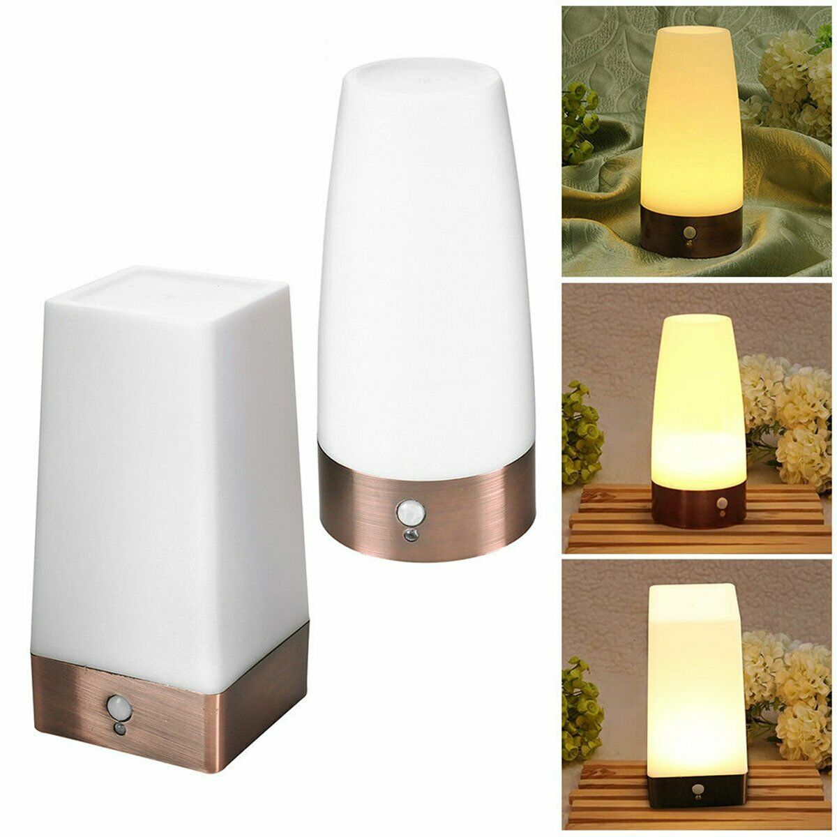 Smart Wireless PIR Motion Sensor LED Night Light Battery Powered Table Lamp Warm White Color Night LED Lighting Home Decor