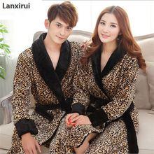 Leopard Print Flannel Lovers Bathrobes Robe Male Women Night Gown Thicken Coral Fleece Pajamas Sleepwear Lounge Kimono Feminino