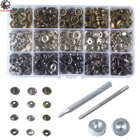 60Sets Metal Snap Fastener Metal Brass Press Studs Sewing Clothes Button Leather Rapid Rivet Button Sewing with Punch Set Tool