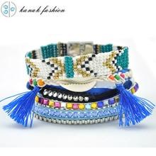 KANAK Various Loom band Pulsera de conchas Magnetic  Bracelets Ipanema Seed Beads Tassel Women  Armband  Jewelry