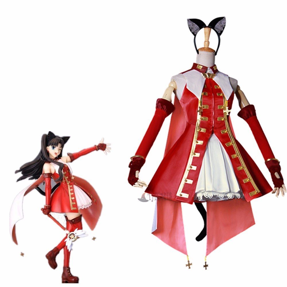 Athemis movie Fate/Stay night Tohsaka Rin red dress Cosplay Costume  custom made  High Quality