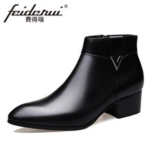 74cd8136bc3a11 2018 Fashion Echtes Leder herren Stiefeletten Spitz High-Top High Heels  Schuhe Handgemachte Mann Cowboy Schuhe HQS237