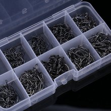Wholesale 500PCS Set High Carbon Sea Fishing hooks Box Fishhooks Jig Barbed Hooks With Tackle Box Tool 3-12# Mixed full Sizes