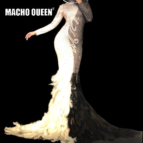 Maxi-Dress Costumes-Lux Celebrate Rhinestones Drag-Queen Nightclub Pearl Long Sexy title=