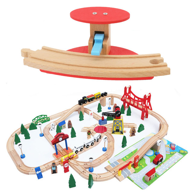 Curved Track Barrier Wooden Train Track Accessories Universal Wooden Train Station Track Barrier Educational Toys For Children